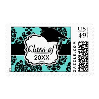 black damask elegance on aqua blue graduation postage