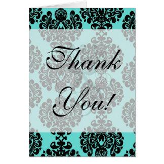 black damask elegance on aqua blue greeting cards