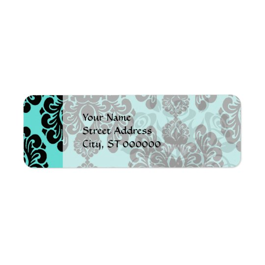 black damask elegance on aqua blue label
