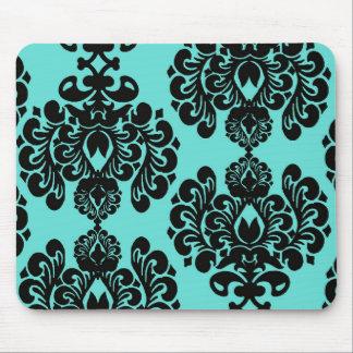 black damask elegance on aqua blue mouse pads