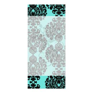 black damask elegance on aqua blue full color rack card