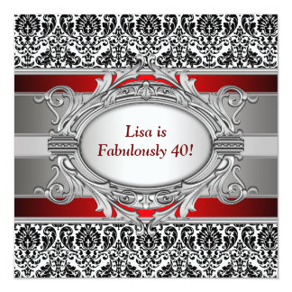 Black Damask Fabulous 40th Birthday Party Card