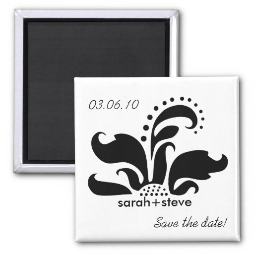 Black Damask Flower Save the Date 2 Inch Square Magnet
