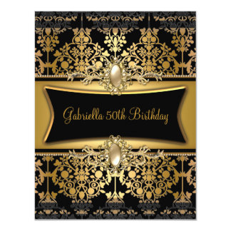 Black Damask Gold 50th Birthday Party Pearl Card