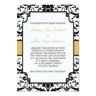 Black Damask Gold Accent Wedding Invitation