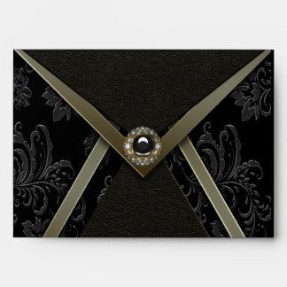 Black Damask Gold Blue Envelope