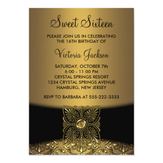 Black Damask Gold Classy Sweet Sixteen Party 5x7 Paper Invitation Card
