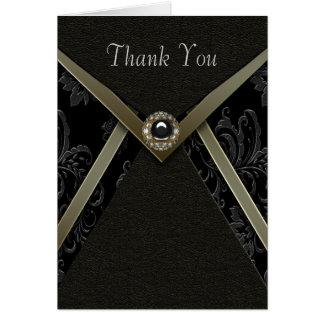 Black Damask Gold Diamond Jewel Thank You Cards