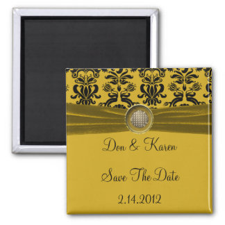 Black Damask, Gold Save The Date 2 Inch Square Magnet