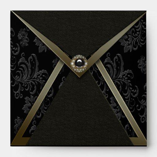 Black Damask Gold Trim Invitation Envelope