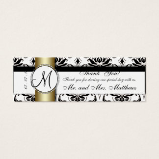 Black Damask Gold Wedding Favor Tag