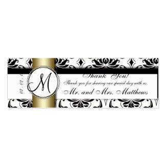 Black Damask Gold Wedding Favor Tag Mini Business Card