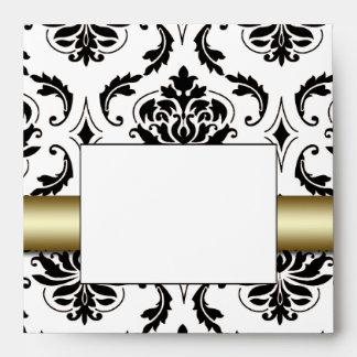 Black Damask Gold Wedding Invitation Envelope