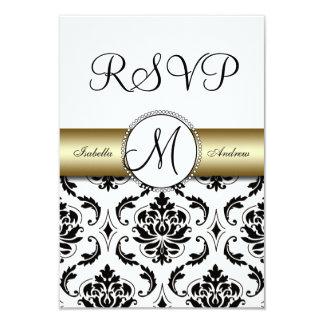 Black Damask Gold Wedding RSVP Card