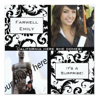 Black Damask  Graduation Farewell Invitation