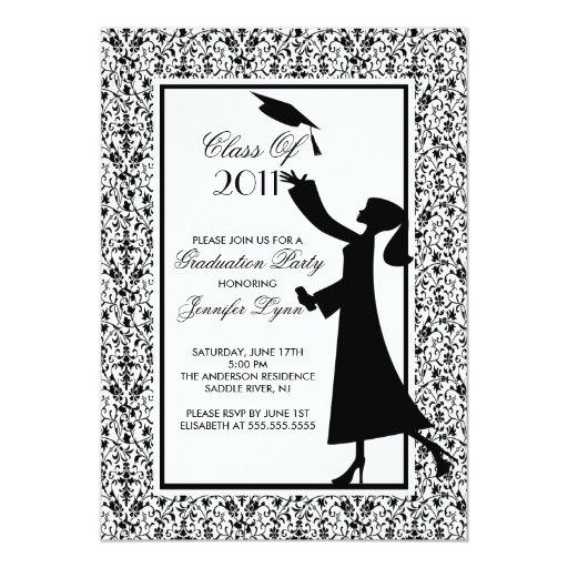 """Black Damask Graduation Invitation Silhouette Grad 5"""" X 7"""" Invitation Card"""