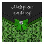 Black Damask Green Bow Princess Baby Shower Custom Invitation
