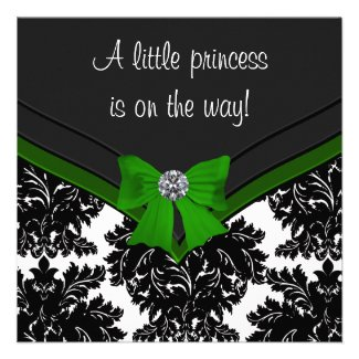 Black Damask Green Bow Princess Baby Shower Personalized Announcement