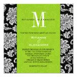 Black Damask Green Monogram Wedding Invitation