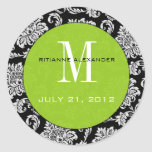 Black Damask Green Monogram Wedding Sticker