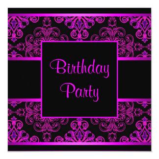 Black Damask Hot Pink Purple Birthday Party Invite
