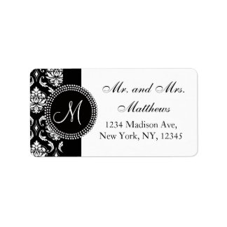 Black Damask Initial Wedding RSVP Address Label