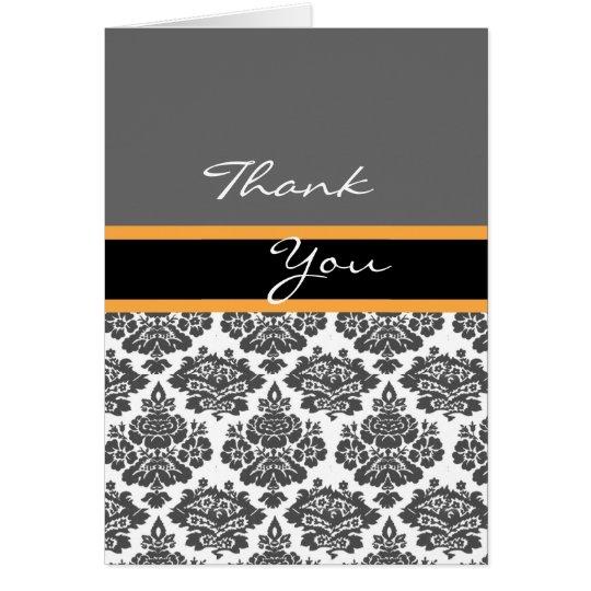 black damask invitation,thank you card