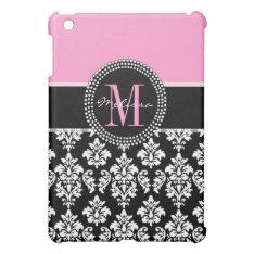 Black Damask Ipad Mini Case Monogram Pink at Zazzle