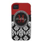 Black Damask iPhone 4 Case-Mate Monogram Deep Red