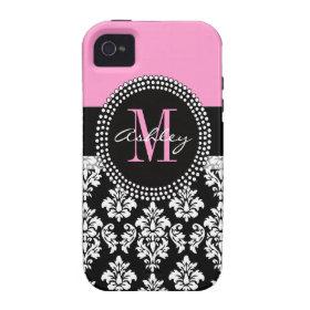 Black Damask iPhone 4 Case-Mate Monogram Pink