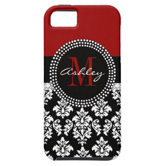 Black Damask iPhone 5 Case Monogram Deep Red