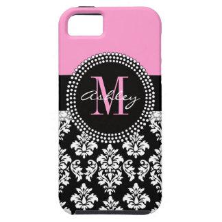 Black Damask iPhone 5 Case Monogram Pink