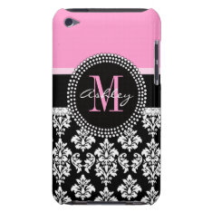 Black Damask Ipod Case | Monogram Pink at Zazzle