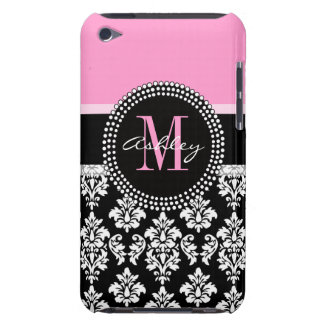 Black Damask iPod Case | Monogram Pink Barely There iPod Covers