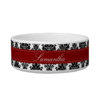 Black Damask Lace Broquade Brocade Pet Food Bowl