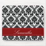 Black Damask Lace Broquade Personalized Mousepad