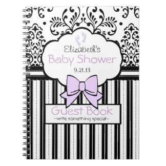 Black Damask Lavender Bow Baby Shower Guest Book