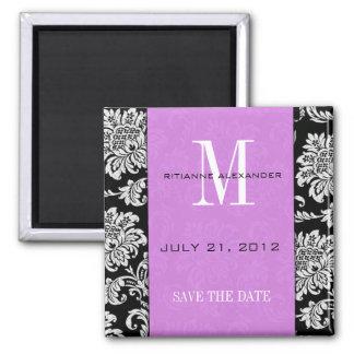 Black Damask Light Purple Monogram Save The Date 2 Inch Square Magnet
