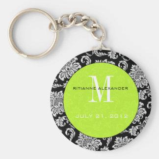 Black Damask Lime Monogram Wedding Keychain