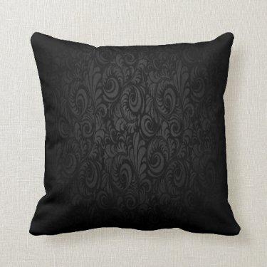 Black Damask Look Cushion Pillows