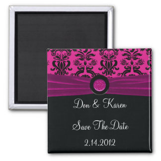 Black Damask, Magenta Save The Date Magnet
