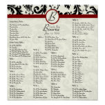 Black Damask Maroon Seating Chart Table Numbers Posters