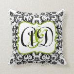 Black Damask Monogram Bride's Pillow