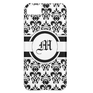 Black damask & monogram cover for iPhone 5C