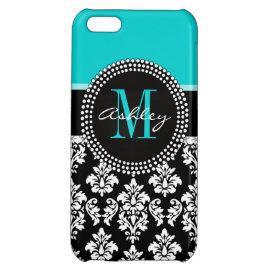 Black Damask Monogram Initial Aqua iPhone 5C Covers