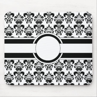 Black damask & monogram mouse pad