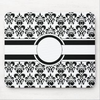 Black damask monogram mouse pads