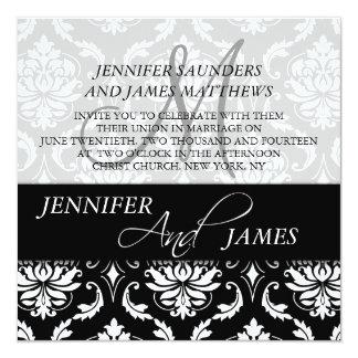 Black Damask Monogram Name Wedding Invitations