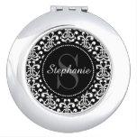 Black Damask Monogram Personalized Compact Mirror at Zazzle