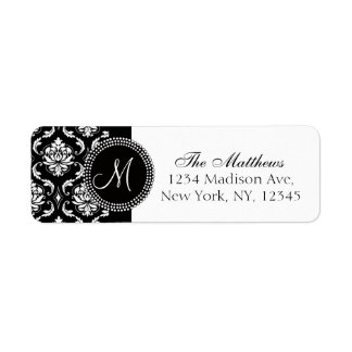 Black Damask Monogram Return Address Label